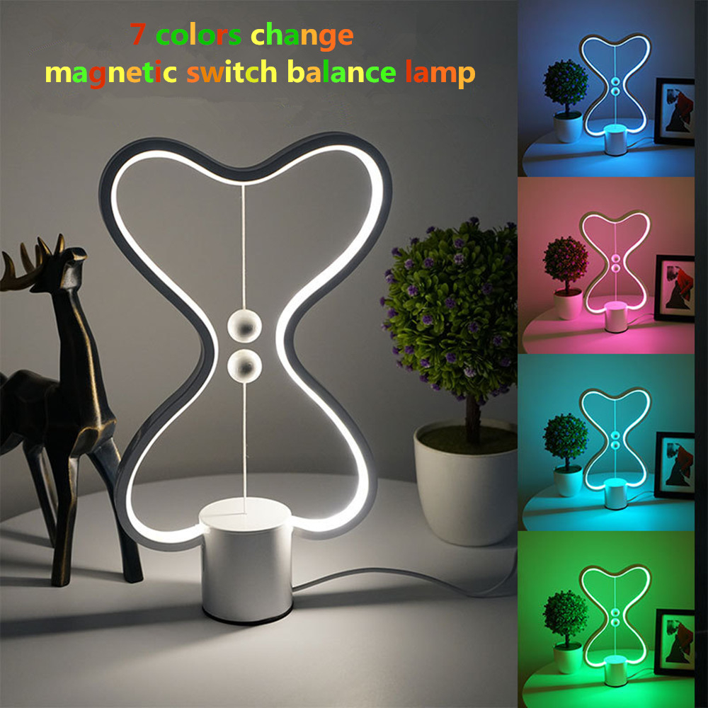 7 Color Changeable Heng Balance LED Night Lamp USB Powered Heart Shape Night Light With Magnetic Switch For Bedroom Decor Gift
