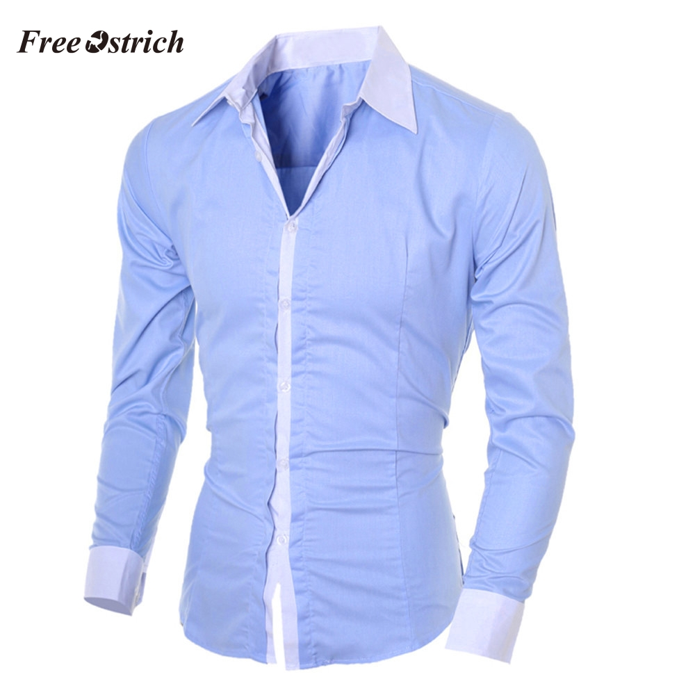 Free Ostrich Fashion Men's Shirt Casual Slim Long-sleeved Shirt Top Blouse Multi Color Stand-Neck Men's Trendy Shirt 91126