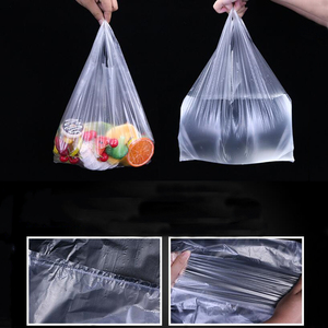 100 Pcs/pack Transparent Bags Shopping Bag Supermarket Plastic Bags With Handle Food Packaging