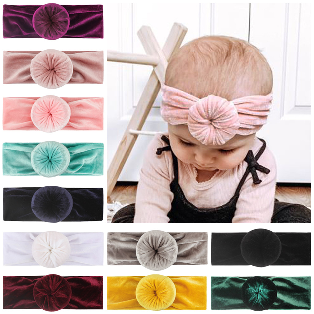 TELOTUNY New 0-4Y Newborn Infant Kids Girls Solid Color Gold Velvet Donut Headband Stretch Turban Knot Head Wrap Headwear Gifts