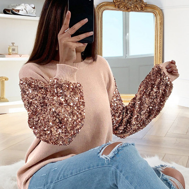 Women Shirt And Blouse Sequin Ladies Tops Tee Shirt Autumn Winter Lantern Long Sleeve O Neck Female Blouses Camisera Mujer D30