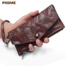 PNDME vintage handmade genuine leather men's clutch wallet high quality real cowhide designer hasp women card holder phone purse