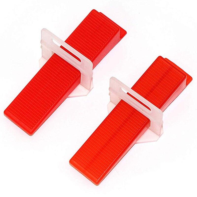 Sistema de nivelación de baldosas WSFS, espaciadores niveladores de baldosas Diy 400 piezas Clips espaciadores niveladores y 100 piezas cuñas reutilizables 100 Uds. Herramientas de construcción de pared de piso de cerámica plana sistema de nivelación de azulejos reutilizable Kit de sistema de nivelación de azulejos