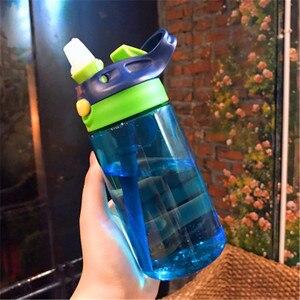450/480ml Water Bottle With Straw Plastic Water Bottles For Kids Bottles BPA Free Sports Bottle Student School Drinkware(China)