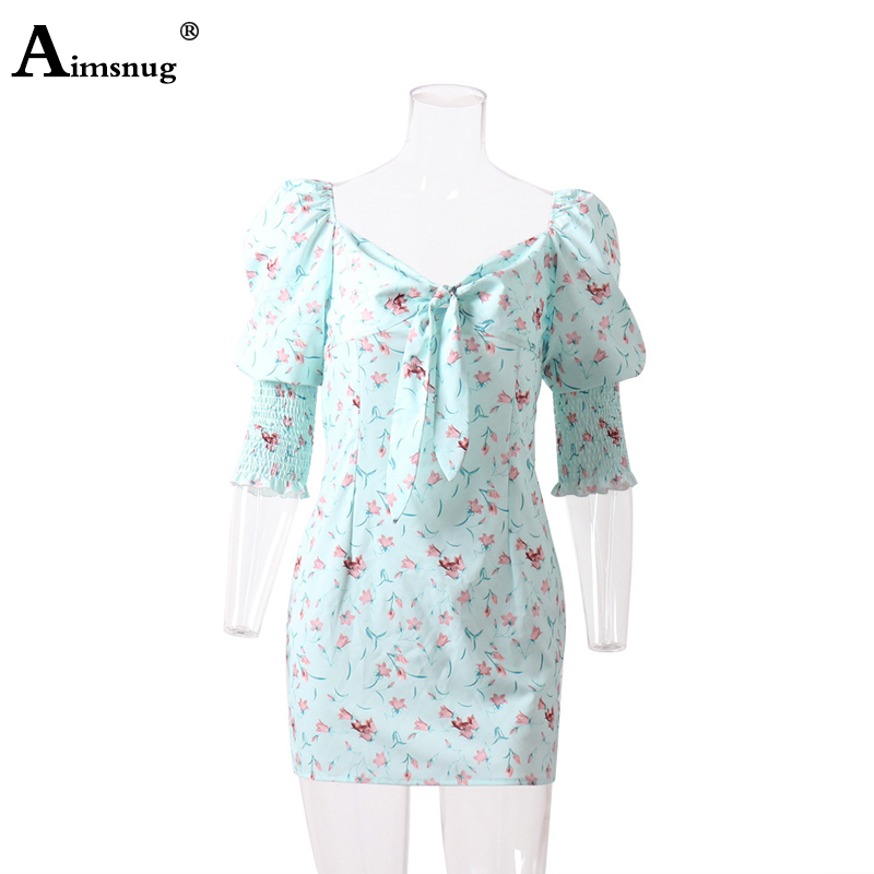 Aimsnug Sexy Flower Print Half Sleeve Deep V Neck Mid Waist Backless Pleated Lace up 2019 New Autumn Elegant Women Mini Dress in Dresses from Women 39 s Clothing