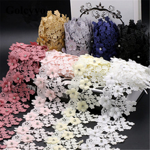 1Meter Polyester Colorful Beading Crystal Flower Lace Trims Ribbon Colthing Skirt DIY Sewing Crafts 9cm Width