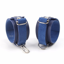 Exotic Accessories Erotic Toys For Adults Open Leg BDSM Bondage Restraints SM Games Navy Leather Ankle Cuffs For Sex Toy