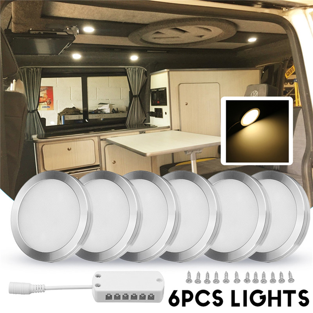 Newest 6Pcs Interior Led Spot Lights 12V 2-2.5W/Pcs Camper Van Caravan Motorhome Bright Light
