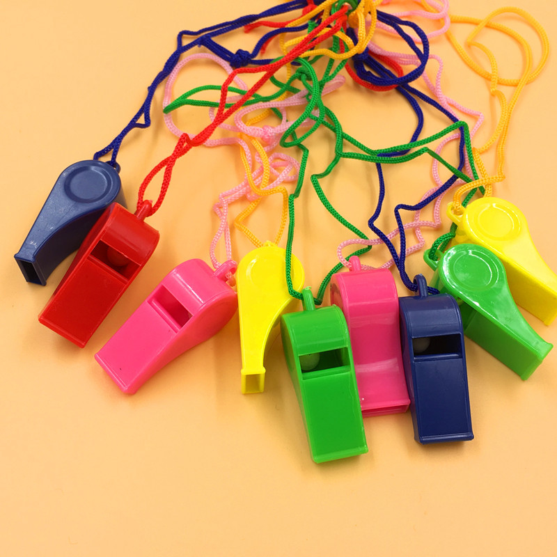 Plastic Whistle Thick With Rope Whistle Survival Outdoor Training Whistle Wholesale Children Whistle 24 Pack