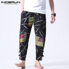 Men Casual Pants Streetwear-Trousers Elastic-Waist Ethnic-Style Loose INCERUN Cotton