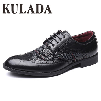 KULADA 2020 Shoes Men Brogue Shoes Comfortable Breathable Formal Shoes High Quality Brand Luxury Dress Shoes