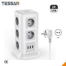 TESSAN Nhà Power Strip 3 USB 11 Ổ Cắm Phích Cắm EU Exension Dây Điện Nguồn Ổ Cắm Cho Văn Phòng Quá Tải Tấm Bảo Vệ