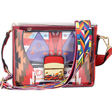 Ladies Europe and the United States transparent pvc graffiti mother and child bag small square bag shoulder crossbody
