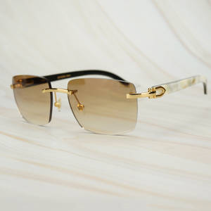 Square Sunglasses Buffalo-Horn White Men Vintage Luxury Designer Carter Black for Yello