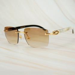 Модные квадратные солнцезащитные очки для мужчин Carter, белые, черные, с рожком Буффало, солнцезащитные очки для мужчин, Винтажные Солнцезащи...