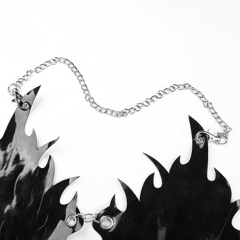 Darlingaga уличная одежда с металлической цепочкой, фестивальный топ с бретельками, Женский Топ из искусственной кожи, Сексуальные клубные вечерние топы на бретельках, модный бюстгальтер 2019