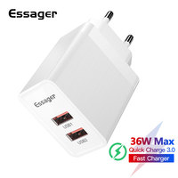 Essager 36W Quick Charge 3.0 USB Charger Dual QC3.0 QC EU Plug Wall Mobile Phone Fast Charger For Xiaomi iPhone Samsung Huawei|Mobile Phone Chargers|   -