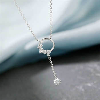 Sole Memory Crystal Petal Geometry Round Tassel 925 Sterling Silver Clavicle Chain Female Necklace SNE542