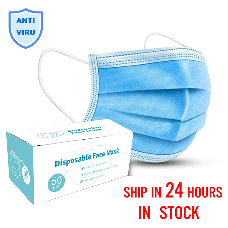 Быстрая доставка одноразовая маска для лица 3 слоя Анти-пыль Нетканая Антивирусная маска для рта для защиты от микробов маска для рта