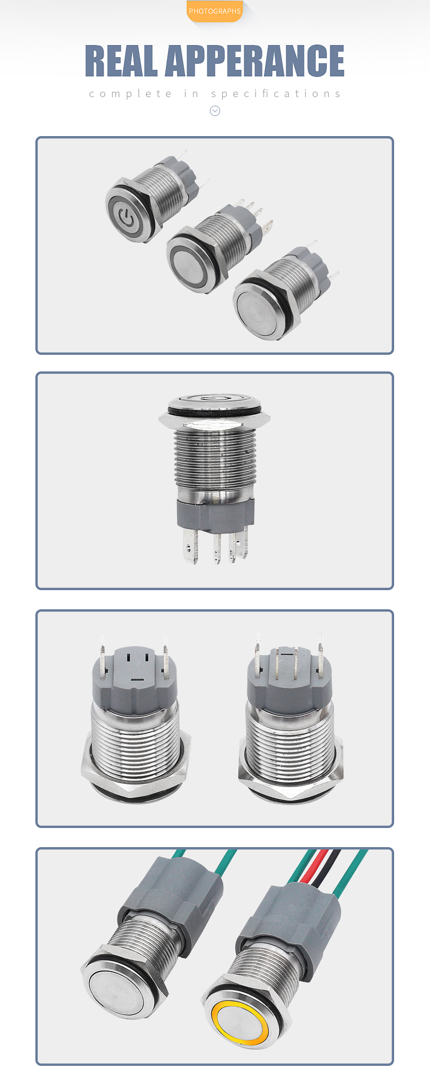 Hf9f1aeb491f641beb31bc425ad69f34au - 16mm High current 15A metal stainless steel button switch  pressing momentary switch self-recovery and self-locking 12V24V220V