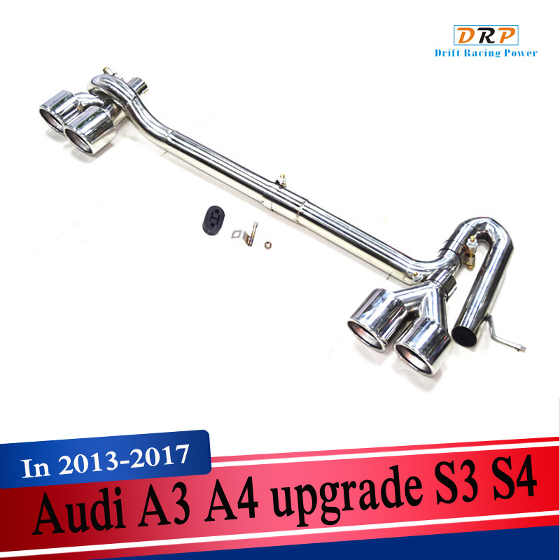 A set of stainless steel car modified <font><b>exhaust</b></font> muffler <font><b>tip</b></font> pipe throat muffler tail fit for <font><b>Audi</b></font> A3 A4 upgrade <font><b>S3</b></font> S4 image