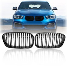 ด้านหน้า Racing Grill สำหรับ BMW F20 F21 1 Series 2015 2016 2017 กีฬา Double SLAT สาย Kidney Grill Grille (GLOSS Black)(China)