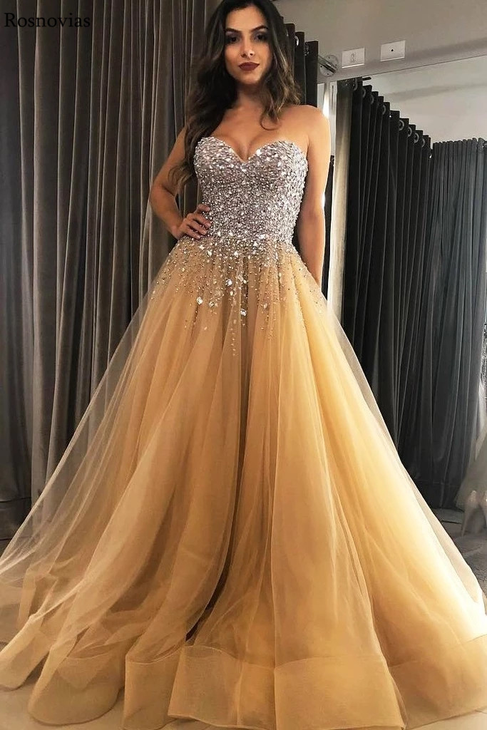 Luxury Major Beading Prom Dresses 2020 Strapless Sleeveless Sweep Train Tulle Skirts Formal Gowns Long Evening Party Dresses
