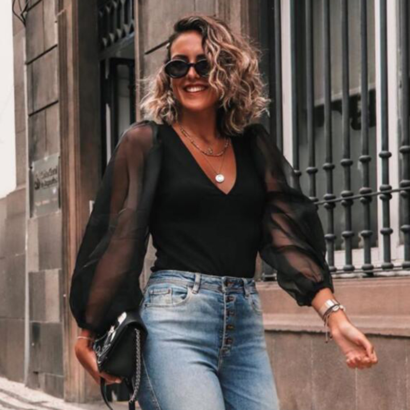 Women sexy deep V neck black   blouse   patchwork transparent sleeve stretchy   shirt   female chic stylish tops blusas