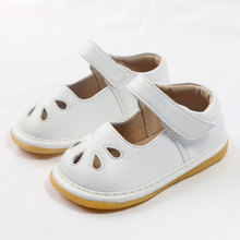 MERABLLE Toddle Shoes Squeaky Shoes For Toddlers White Soft Round Toe Mary Jane Girl Shoes Flat Shoes Little Kid