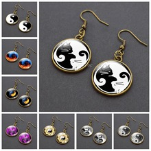 Yang Tai Chi Drop Earrings Glass Cabochon Copper Dangle Hook Yin Meditation Jewelry for Women Gifts