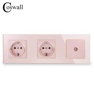 Image 3 - COSWALL Panel de cristal de pared con doble potencia, enchufe con conexión a tierra 16A, toma eléctrica de la UE con conector de TV hembra