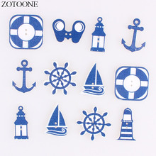 ZOTOONE 50PCS Handmade Wooden Cartoon Anchor Buttons Noel Accessories Scrapbooking for Clothing DIY Craft Decoration Button E