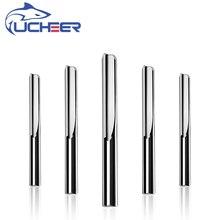 UCHEER 1pc 3.175 4 6mm שני חלילים ישר נתב כרסום קאטר לעץ CNC ישר חריטת Cutters קרביד סוף מיל כלים