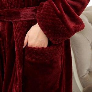 Image 4 - Women Extra Long Soft as Silk Flannel Bath Robe Femme Winter Warm Bathrobe Bride Kimono Dressing Gown Bridesmaid Robes Wedding