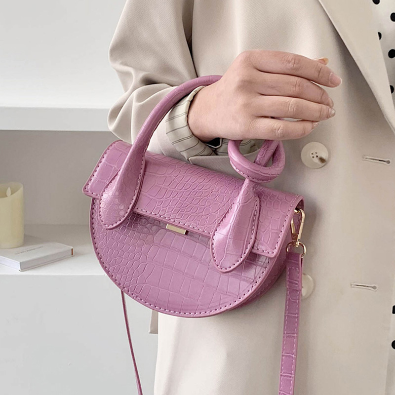 Crocodile Pattern Saddle Bags For Women 2020 Small PU Leather Totes Female Crossbody Shoulder Handbag Lady Cute Travel Bag