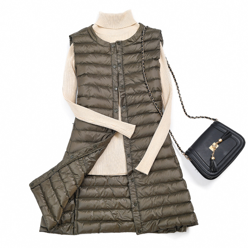 Autumn Winter Women Vest 2019 Plus Size Long Sleeveless White Duck Down Vests Coat Casual Jacket Ultra-thin Lightweight Outwear