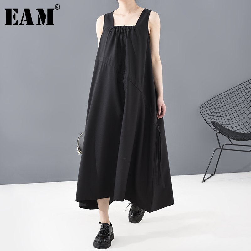 [EAM] Women Black Drawstring Long  Spaghetti Strap Dress New Round Neck Sleeveless Loose Fit Fashion Spring Summer 2020 1T825