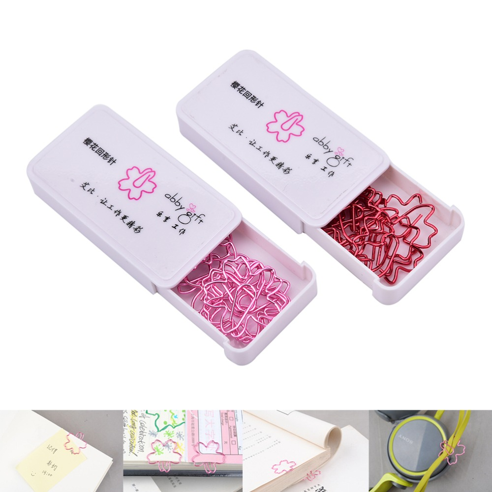 2pcs/lot HOT Paper Clips Cute Sakura Cherry Blossom Flowers Paperclips Clips for Book Markers Planne