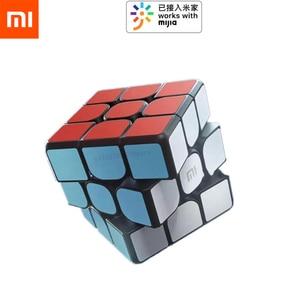 Image 1 - Xiao mi الذكية بلوتوث المكعب السحري بوابة الربط 3x3x3 mi مربع المغناطيسي أُحجية مكعبات العلوم تعليم التعليم لعبة هدية