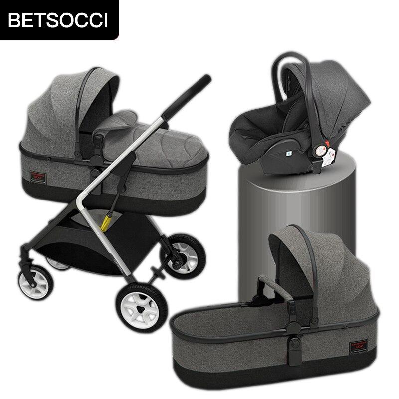 Carrinho de bebê quatro rodas carrinho de bebê 2 em 1/ 3 em 1 alta paisagem dobrável portátil carrinho de bebê em dois sentidos