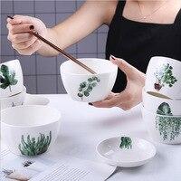 Nordic Bowl Green Plant Square Dinner Bowl Set Bowl Home Rice Bowl Ceramic Tableware Creative Salad|Bowls|   -