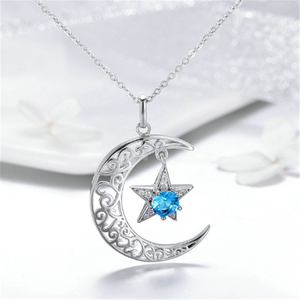 Image 3 - New Romantic 925 Sterling Silver Sparkling Moon And Star Necklaces Pendants for Women Fashion Necklace Jewelry Gift SCN278