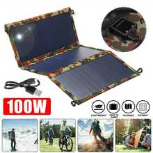 100W Solar Panel Portable Folding Foldable Sunpower Waterproof USB Cable Outdoor Panel Charger Power Bank For Phone Battery