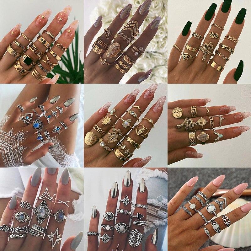 KSRA Boho винтажные золотые шарнирные кольца женские богемные кольца с кристаллами змеи геометрические женские кольца на палец набор ювелирны...