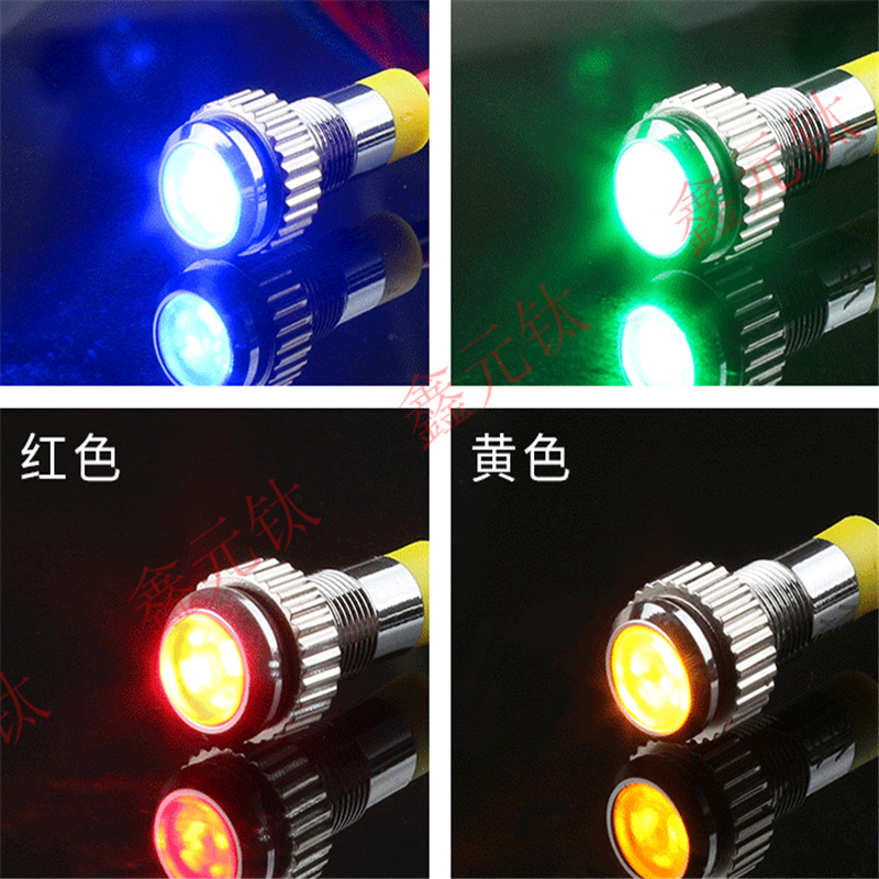 Metal Indicating Light 6 8 10 12 16mm 3-6v 12v 24v 220v Red Yellow Blue Green White Pink Led Waterproof Cable Power Signal Lamp
