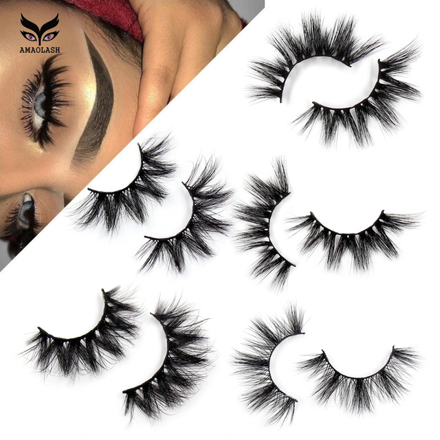 AMAOLASHขนตาMinkขนตาหนาขนตาปลอมธรรมชาติยาว 3D Mink LashesปริมาณสูงSoft Eye Eye Lashesแต่งหน้า