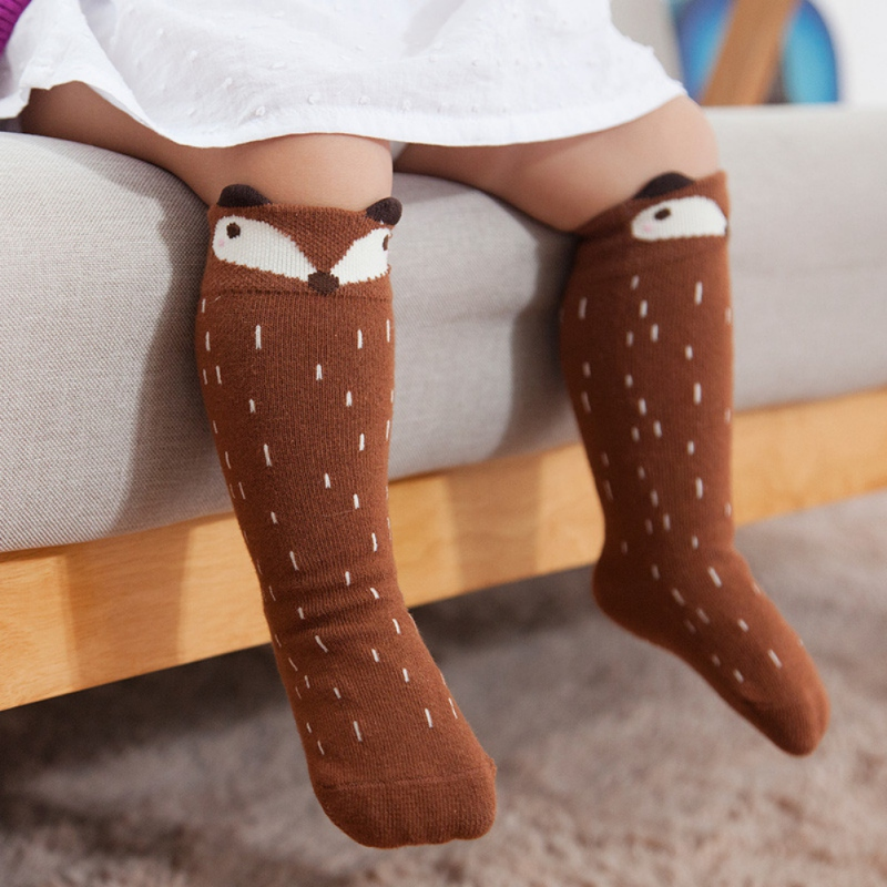 Kids Autumn Winter Hot Cute Kids Fox Socks Totoro Socks Bear Pancake Cartoon Girls Knee High Socks Baby Long Socks