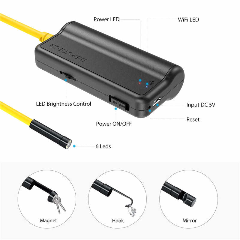 Depstech Endoscopio de Wireless WiFi  Boroscopio de 2.0 Megapixeles CMOS HD Camara de la Serpiente 6 LED para Andorid y IOS Smartphone 5M Camara de Inspecci/ón Negro 16.4 ft