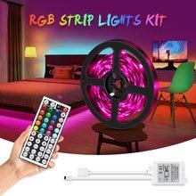 Rgb conduziu a luz de tira 5050 fita flexível tira conduzida dc12v 5m 10m 20m kit completo remoto para sala de estar/cama quarto/cozinha