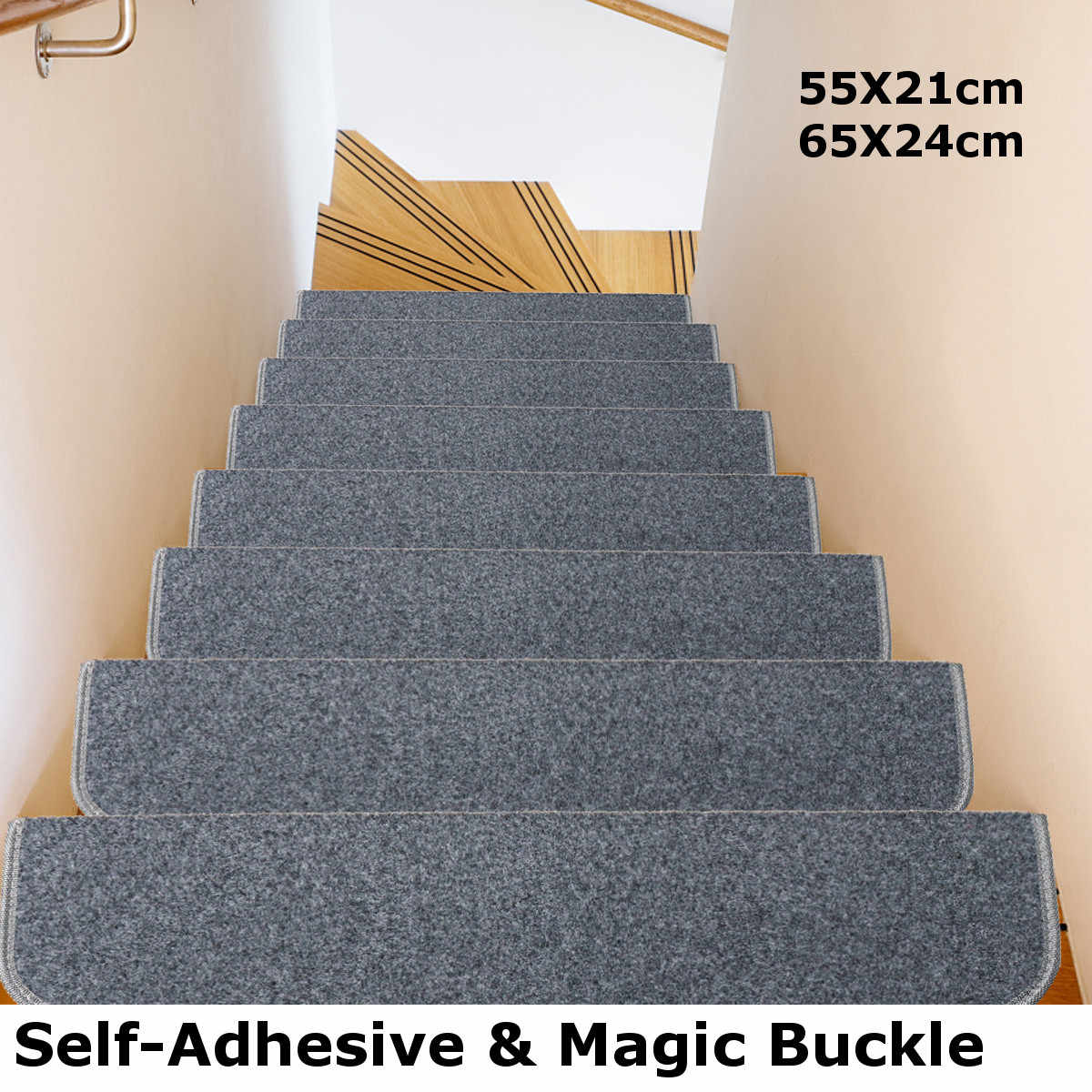 15 Pcs Carpet Self-adhesive Stair Mats Protection Step Staircase Floor Tread Mat